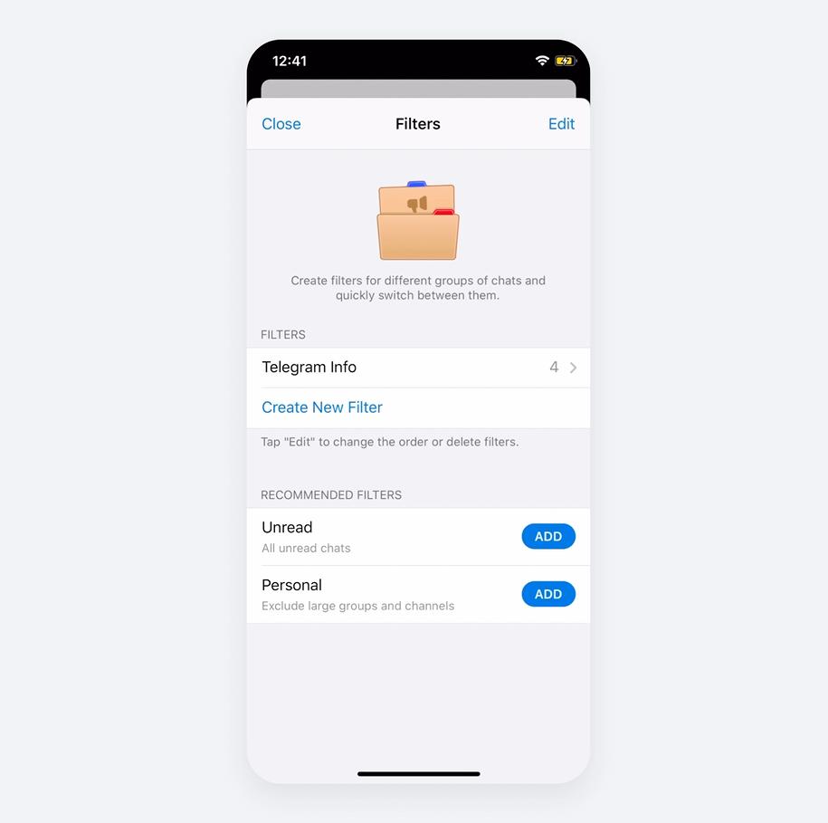 Folders in Telegram